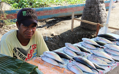 A man sells fish by the road in Dili, Timor-Leste. Photo by Holly Holmes, 2013.