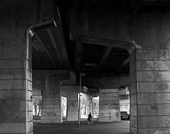 Silver Jubilee Bridge (PaulEBennett) Tags: bridge white black mono underneath runcorn silverjubileebridge