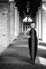 Brooke (KatGatti) Tags: portrait blackandwhite bw woman girl fashion architecture canon outtakes perspective brooke 365 gatti colonnade blackdress