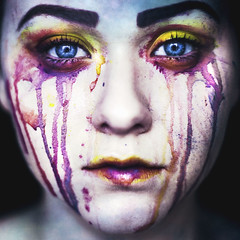 Rainbow Veins (Megan Wilson Photography) Tags: pink blue portrait colour water yellow rainbow eyes paint magenta sqaure viens meganwilsonphotography