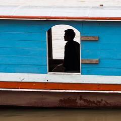 Mekong (Miha Pavlin) Tags: trip blue red vacation silhouette river se boat asia adventure southeast laos lao mekong luang prabang