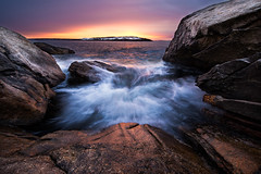 Reid State Park (moe chen) Tags: ocean park snow rock sunrise island waves state maine atlantic reid