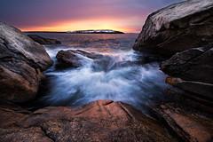 Reid State Park (moe chen) Tags: ocean park snow rock sunrise island waves state maine atlantic reid