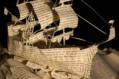 Starboard (From Within a Book...) Tags: sculpture detail art water hat altered paper paperart word photography reading book design boat words 3d artwork waves ship flag text details sails craft books photograph captain micro page sail mast rigging sculptor bookart aye emmataylor booksculpture fromwithinabook