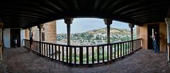 Viewing Albaycin from the Alhambra (Michael Echteld) Tags: city summer panorama espaa spain distorted sony alhambra granada curve lightroom albaycin captureonepro a7ii michaelechteld ilce7m2 michaelechteldphotography