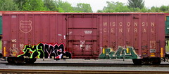 - celm (timetomakethepasta) Tags: celm moms cpck bot freight train graffiti wc boxcar wisconsin central