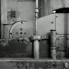 Meccanico. Mechanical B&W (sandroraffini) Tags: machine street exploration detail abstract reality work bw shapes urban metal decay lines curves