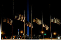 Tribute in Light 9/11/16 (trs125) Tags: tributeinlight 911 nineeleven americanflags america redwhiteandblue neverforget libertystatepark