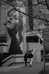 She's always watching over me (1 of 1) (Leon Sammartino) Tags: street art nauru shouse melbourne camera security house strret walkers rainy fujifilm monochrome