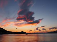 Adriatic sunset (Hammerhead27) Tags: colour coast mountains dubrovnik tourist holiday kalamota kolocep croatia reflection dusk beauty yacht water sea adriatic cloud orange sky sunset