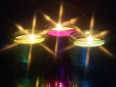 Macro Mondays - Stars (sylviamay1963) Tags: macromondaysstars stars tealights black purple blue green candle star filter sonya58 tamron18270mm reflections flames