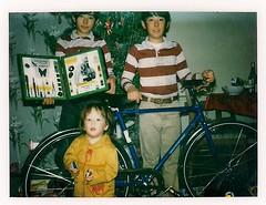 I got a microscope, Mark got a Bridgestone bicycle (Richard Masoner / Cyclelicious) Tags: mark tim me christmas gifts bicycle bridgestone tbt