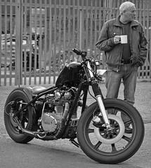 Tea is the Answer (Harleynik Rides Again.) Tags: tea yamaha chopper man monochrome motorcycle harleynikridesagain