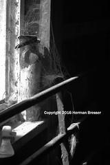 Fire Extinguisher (Herman Bresser:) Tags: fireextinguisher barn cobwebs windowsill abandoned