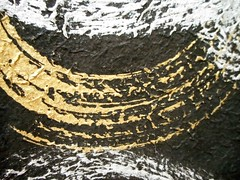 "Thai chunky chiri ""saa"" paper_white&gold marbling on black (tengds) Tags: paper handmadepaper thaipaper thaihandmadepaper saapaper thaisaapaper chunkychiri black gold white tengds"