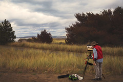 The Painter (charhedman - off for a few days) Tags: painter porttownsend fortwordenstatepark grass trees sky woman painting canvas brush