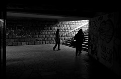 A Lil' Light (The New Motive Power) Tags: street city family light shadow people urban blackandwhite black dark underpass subway quiet steps minimal spooky bulgaria ascent plovdiv   canon7d