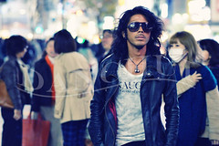 Naughty (Dan Chui (on/off!)) Tags: street portrait man color fashion japan night geotagged fun lights tokyo evening cool nikon asia neon candid shibuya citylife 85mm style  streetphoto   crosswalk cinematic shibuyacrossing d800 scramblecrossing