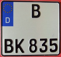 GERMANY, BERLIN ---LARGE SIZE CURRENT SQUARE MOTORCYCLE PLATE (woody1778a) Tags: world auto canada berlin cars car sign vintage germany deutschland europa europe edmonton photos tag woody plate tags licenseplate collection number photographs license plates foreign numberplate licenseplates numberplates licenses cartag carplate carplates autotags cartags autotag foreigns pl8s worldplates worldplate foreignplates platetag