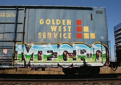 MECRO REVISITED FROM 08/24/2009 (CONSTRUCTIVE DESTRUCTION) Tags: train graffiti streak tag boxcar graff cdc goldenwest mecro constructivedestruction