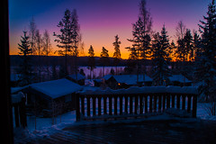 Dalarna, Sweden (Erica Gilbertson) Tags: morning trees houses roof winter light sea sky orange sun sunlight house snow color ice nature water colors beautiful sunrise garden outside heaven frost village purple sweden sony small cottage swedish tiny dalarna cottages sunshin
