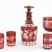 4018. 19th Century Ruby Bohemian Glass Decanter Set