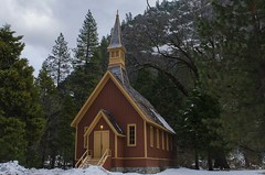 Chapel In The Valley (rschnaible) Tags: california trees winter usa mountain snow storm mountains west church forest landscape us cloudy scenic stormy chapel scene explore western yosemitenationalpark  explored