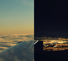 Descent (-kenza) Tags: city nyc travel light sky ny newyork night clouds dark airplane fly flying day air aeroplane