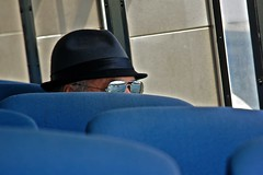 The Passenger (Paulo N. Silva) Tags: blue sea reflection hat glasses boat passenger setubal troia