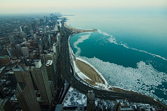 Thaw (benchorizo) Tags: winter chicago cold ice weather skyline cityscape skyscrapers lakemichigan lakeshoredrive birdseyeview chicagoskyline northavebeach chicagoist banias johnhancockobservatory benchorizo romeobanias