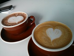 Mendel Gallery café (pburka) Tags: saskatoon coffee drinks heart foamart espresso cappuccino hot chocolate usedwithattribution