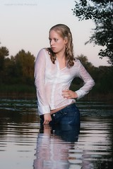 Jeans and blouse wet in the lake (Wet and Messy Photography) Tags: lake wet water girl shirt women jeans leslie splash soaked wetlook