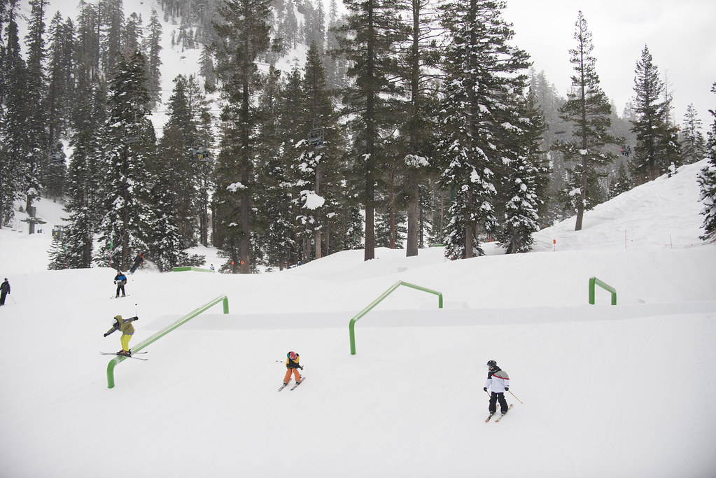 Terrain parks at Alpine are designed by Snow Park Technologies (SPT) who build the X Games and the Winter Dew Tour
