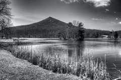 Sharp Top (sitheris) Tags: winter blackandwhite bw usa mountain lake mountains water landscape bedford outdoors virginia landscapes us blackwhite unitedstates peak va hdr blueridgeparkway peaksofotter