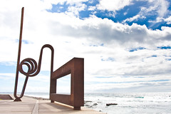 Sculpture at the beach (CWhatPhotos) Tags: pictures above blue sea sky cloud sun holiday hot metal clouds that de photography coast la los spain rust warm exposure skies foto play view image artistic pics over picture rusty sunny pic images have coastal photographs photograph fotos tenerife which americas exposed contain cristianos sculpturer cwhatphotos