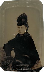 Tintype of a beautiful and stylish young woman (sctatepdx) Tags: beautifulwoman tintype oldportrait vintagejewelry antiquejewelry vintagehat antiquehat tintypeportrait