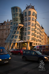 Everyday Beauty - the Frank Gehry Dancing House; Prague, Czech Republic (erik g peterson) Tags: trip travel winter sunset sunlight snow cold building architecture europe czech prague gehry architect czechrepublic frankgehry dancingbuilding 2013 erikpeterson d3s