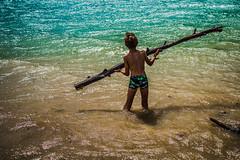 En couleurs (PaxaMik) Tags: lake water colors silhouette eau couleurs lac swimmer summertime t tronc baignade lacdemonteynard