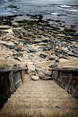 Follow the stairs to Shell beach (R*Pacoma) Tags: nikon d40 35mm panorama beach rocks stairs water sand waves