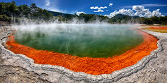 (Voyages Lambert) Tags: nopeople beautyinnature adulation volcaniclandscape champagnepool hotspring geology waiotaputhermalpark scenics heattemperature action loneliness multicolored orangecolor greencolor blue turquoisecolored colors famousplace traveldestinations nature outdoors panoramic rotorua newzealand bubble mineral island volcaniccrater landscape pond lake watersedge steam water hdr