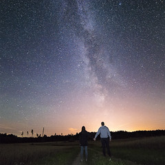 Stargazing (Anna_L.) Tags: night sky milky way galaxy road sign light pollution stars space