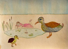 Annabelle and the Autumn Ducks Ponder by the Pond (Fauna Finds Flora) Tags: leaf illustration art mixedmedia gouache watercolor painting duck animal bird pond girl woman boat lilypad cattail tea whimsical story narrative nature faunafindsflora