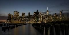 Manhatten Skyline (Colin Freeman Photography) Tags: ny newyork manhatten river bridge skyline skyscrape building architectrure water night exposure light brooklyn nikon d750 honeymoon america usa reflection