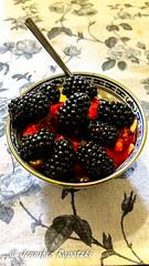Semolina with blackberries (Bernsteindrache7) Tags: fruit black color dessert red indoor home