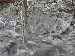 Snowy scene from our ski trip in the Kootneys overlaid with a Cezanne painting of snow and trees (elizabatz.jensen) Tags: snowyscene photoshop skitrip kootneys overlay cezanne painting snow trees