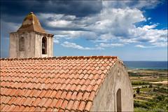 posada (heavenuphere) Tags: posada nuoro sardegna sardinia sardinie italia italy europe island old church roof tiles bell tower landscape mediterranean sea water blue sky clouds 24105mm