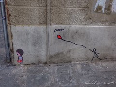 Lost in Florence (Belinda Fewings (3 million views. Thank You)) Tags: belindafewings panasoniclumixdmc bokeh city street seaside colour colourful artistic pbwa creativeartphotograhy creative arty beautiful beautify beauty lovely outdoors outside out best depthoffield lost florence firenze italian italy italia graffiti steet streetart k balloon stickpeople corner walk wall brick lessismore simple basic