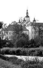 The old Monastery in Suprasl (roomman) Tags: 2016 poland podlasie podlachia region east church tower building bw blackandwhite black white bandw monochrome style bacl water river lake suprasl supral monastery orthodox biaystok bialystok