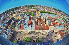 Fish-eye  view of the city Lviv birds eye view. Panorama (marozn) Tags: aerial ukrainian ancient cathedral architecture building fisheye center church city cityscape downtown eastern summer europe catholic european exterior hall high historic house landmark lemberg dominican lviv lvov morning old panorama red roof shift street sunny tilt tiltshift top tower famous town ukraine unesco view multicolored