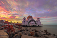 Brush Stroke Cloud Over Selat Mosque (Arief Rasa) Tags: malacca malaysia melaka islam islamic selat masjid scenic monument straits historical shore seaside rocks travel view sunrise red mosque landmark awesome attraction symbol night scenery orange longexposure dusk twilight sun minaret building asia belief malaca beach architecture city blue sunset sky dawn tourism religion scene beautiful nature floating landscape ocean